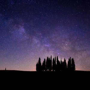 Cielo stellato sopra un bosco della Toscana